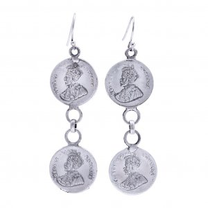 Jewels Of Jaipur Oxidized Silver King George Coin Drop Hook Earring Gift Jewelry