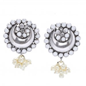 New Fashion Oxidised Silver Glass Floral Leaf Moon Design Drop Earrings Jewelry