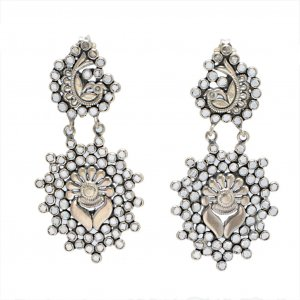 Jewels Of Jaipur Oxidized Silver Glass Peacock Design Drop Dangle Earrings Gift