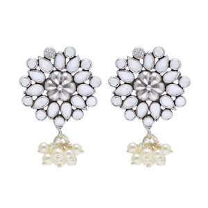 Traditional Glass Oxidized Silver Floral Design Wedding Party Drop Stud Earrings