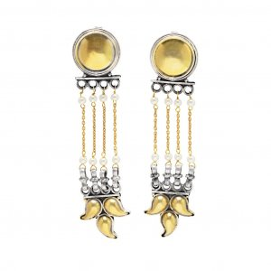 Antique Style Yellow Gold Plated Silver Chain Chandelier Earrings Women Jewelry
