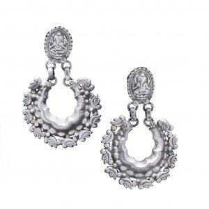 Religious Ganesha Design Oxidized Silver Dangle Earrings Fashion Jewelry For Her