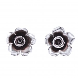 New Arrivals Oxidised Silver Bohemian Floral Stud Earrings Women's Gift Jewelry