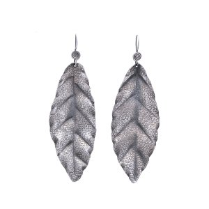 Vintage Style Oxidised Silver Tribal Leaf Design Drop Earrings Fashion Jewelry