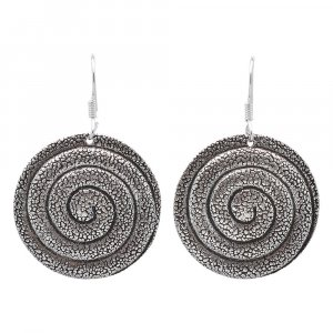 Jewels Of Jaipur Silver Spiral Design Round Disc Hook Earrings Antique Jewelry