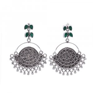 Jewels Of Jaipur Traditional Silver Green Onyx Drop Dangle Earrings gift Jewelry