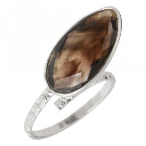 New Arrivals Silver Smoky Quartz Stone Designer Ring Women's Fashion Jewelry