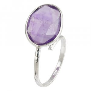 New Fashion Handmade Silver Amethyst Ring Anniversary Gift Jewelry For Her
