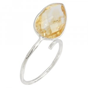 Natural Citrine Gemstone Traditional Oxidized Silver Antique Womens Ring Jewelry