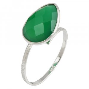 Natural Emerald Gemstone New Design Silver Ring Party Wear Fashion Jewelry