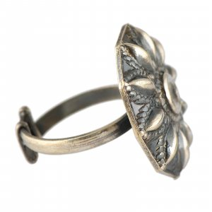 Handcrafted Tribal Oxidized Silver Designer Floral Ring Womens Fashion Jewelry