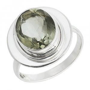 Jewels Of Jaipur Silver Green Amethyst Gemstone Wedding Ring Gift Jewelry
