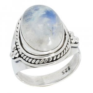 Amazing !! Natural Moonstone Gemstone Silver Cocktail Ring Gift Jewelry For Her