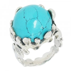New Fashion Silver Inspired Turquoise Cocktail Ring Women's  gift Jewelry