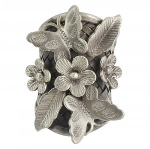 Handcrafted Beautiful Oxidized Silver Floral Leaf Butterfly Ring Women Jewelry