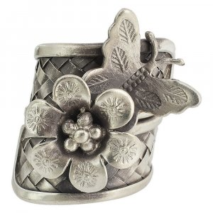 Tribal Oxidized Silver Floral Butterfly Design Wrap Ring Womens Fashion Jewelry