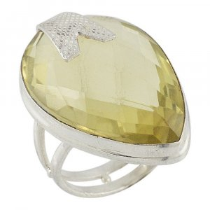 Traditional Silver Pear Cut Lemon Quartz Cocktail Ring Womens Gift Jewelry