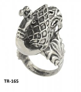 Antique Style Tribal Oxidized Silver New Designer Peacock Ring Vintage Jewelry