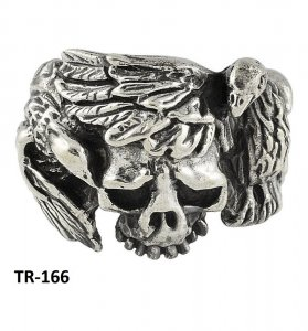 Traditional Silver Oxidized Horrific Skull Ring Antique Jewelry