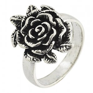 Tribal Silver Oxidize Designer Floral Ring Womens Gift Jewelry