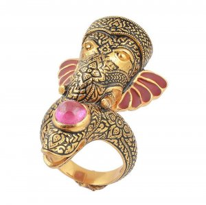 Tribal Gold Plated Silver Ruby Glass Filled Religious Lord Ganesha Ring Jewelry