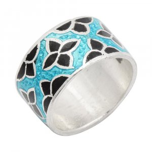 Multi Color Floral Enamel Oxidized Silver Casual Wear Band Ring Fashion Jewelry