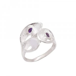 Handcrafted Oxidised Silver Amethyst Stone Unique Designer Ring Gift For Girls