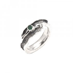 Green Onyx Stone Oxidised Silver Handmade Designer Bypass Ring Nice Gift Jewelry