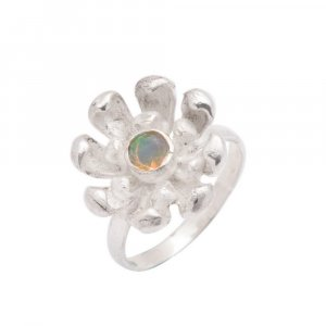 New Design Oxidised Silver Ethiopian Opal Gemstone Floral Ring Fashion Jewelry