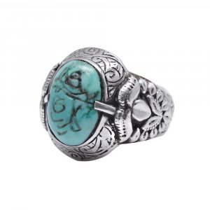 Antique Style Tribal Oxidized Silver Inspired Turquoise Cocktail Ring Jewelry