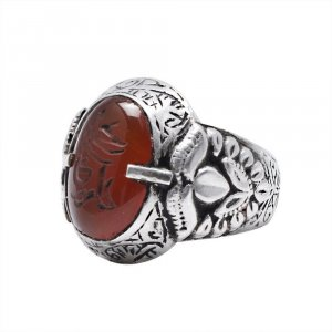 Handmade Oxidized Silver Red Onyx Gemstone Cocktail Ring Fashion Jewelry For Men