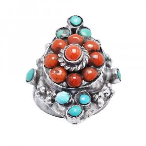 Tribal Oxidised Silver Coral Turquoise Stone Cocktail Ring Fashion Jewelry