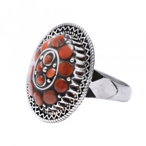 Handmade Oxidized Silver Orange Coral Gemstone Floral Cocktail Ring Jewelry Gift