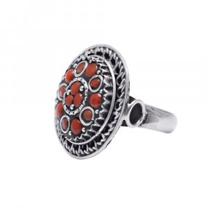 New Arrivals Oxidised Silver Jewelry Coral Stone Cocktail Ring For Girls/Womens