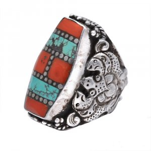 New Arrivals Silver Turquoise Coral Bohemian Cocktail Ring Elegant Jewelry