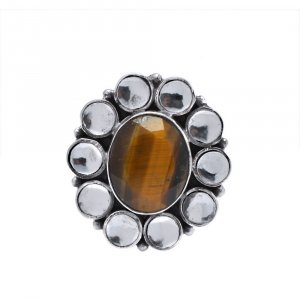 New Design Jaipur Traditional Oxidized Silver Tiger Eye Stone Cocktail Ring Gift
