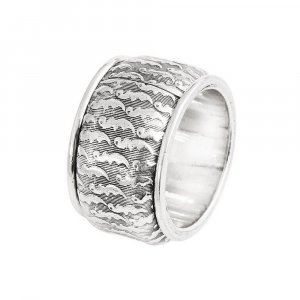 Handmade Oxidized Silver Tribal Antique Designer Wide Band Ring Vintage Jewelry
