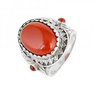 Handmade Oxidized Oxidized Silver Coral Stone Cocktail Ring Casual Wear Jewelry