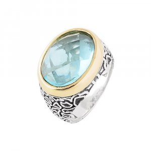 Handcrafted Oxidized Silver Aquamarine Stone Cocktail Ring Size 6.5 Jewelry