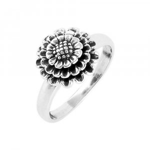 Handmade Silver Oxidized Traditional Tribal Floral Ring Jewelry For Gift TR66US