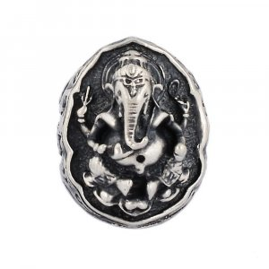 Vintage Artisan Oxidized Silver Religious Indian Lord Ganesha Ring Gift Jewelry
