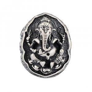Handmade Oxidized Silver Indian Religious Lord Ganesha Ring Jewelry Gift